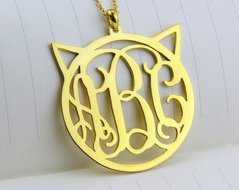 Gold Cat Monogram Necklace,Cute Monogram Necklace,Circle 3 Initials Necklace,Personalized Monogram Pendant,Monogram Jewelry