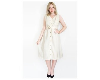 70s Beige White Button Up Dress | Vintage Dress | Cream Dress | Sleeveless Dress | Day Dress - Size L Large