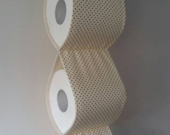 Practical decorative Toilet paper Holder storages /cream with brown polka dots / For 3 rolls