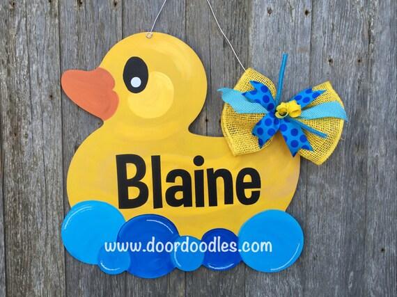 Rubber ducky baby shower door decoration hanger hanging wreath for Baby shower door decoration
