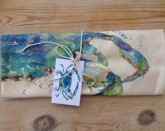designer contemporary  Blue crab   fish  tea towel , 100%cotton made in uk , by designer and artist nicola jane rowles