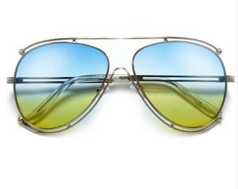 Two Tone Aviator Sunglasses