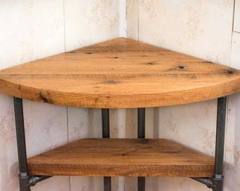 Chic Reclaimed Wood Office Desk love love love this reclaimed wood desk with hairpin legs Reclaimed Wood Corner Table Desk Solid Oak W 26 Black Iron Pipe Legs