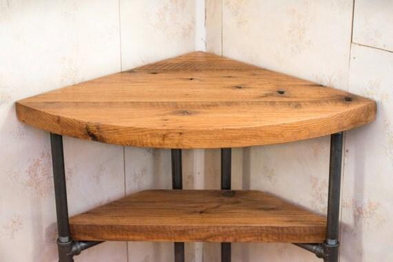 """Reclaimed Wood Corner Table Desk- Solid Oak W/ 26"""" Black Iron Pipe ..."""