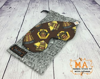 Oversized Brown Dalek Sleep Mask With Fleece Lining and Optional Travel Bag