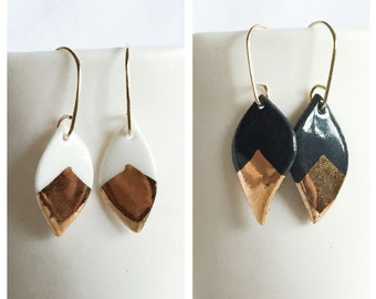 black or white porcelain leaf earrings with gold accent