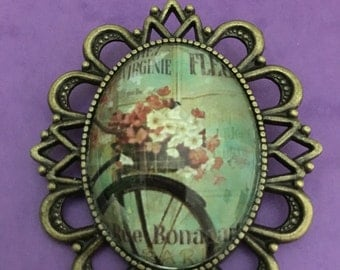 "Cameo Brooch ""Bike with flowers"""