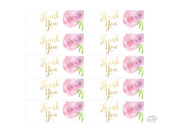 Watercolor and Gold Calligraphy Thank You Printable Tags, Labels, Favor Bags