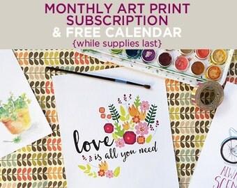 Monthly art print subscription & FREE CALENDAR