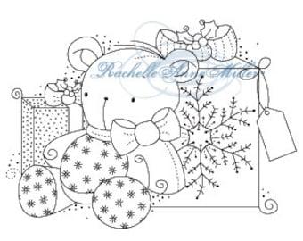 "Stampavie ""Teddy Bear""/Christmas stamp/Clear stamp/present stamp/Rachelle Ann Miller"