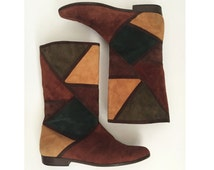 80s VAN ELI suede window pane boots - vintage patchwork leather flats - Harlequin Color Blocked 7.5 N