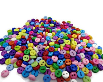 50 tiny buttons micro button mix, multicolour buttons, tiny resin buttons, uk button supplies, sewing buttons, clothing buttons, 6mm buttons