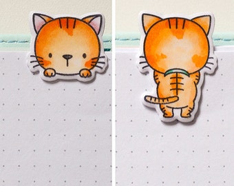 1 X Ginger Kitty Two-sided Laminated Clip, Paper Clip, Bookmark