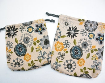 SALE!! Drawstring Pouch/Bag [Set of 2] Diaper, Snack Pouch, Utility Bag