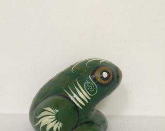 Hand Painted Folk Art Frog Sculpture