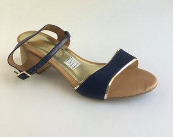 Brazilian Leather Ankle Strap Sandals with Heel for Women in Navy Blue
