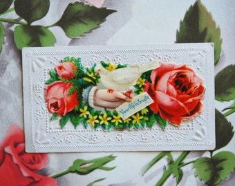 Two Victorian Embossed Calling Cards 1890s Scrapbooking Paper Ephemera