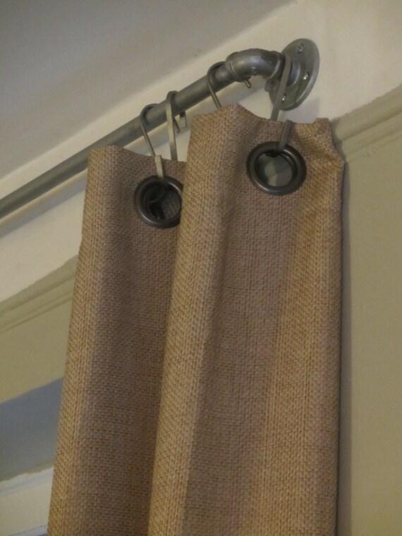 Burlap curtains with grommets long drapes rustic panels grommets top