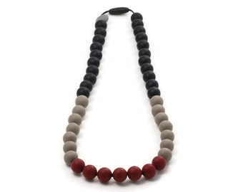 Silicone teething necklace for mom- Black,taupe and brick red