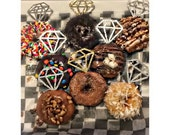 12 Diamond Donut Toppers// Set of 12// cupcake toppers // bridal brunch