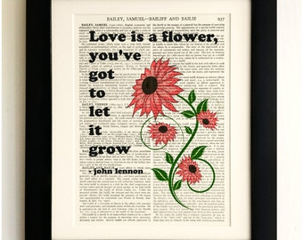 FRAMED ART PRINT on old antique book page - Love is a Flower, John Lennon Quote, Vintage Wall Art Print Encyclopaedia Dictionary