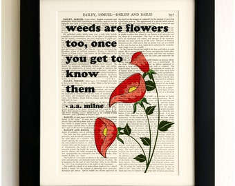 FRAMED ART PRINT on old antique book page - Weeds are flowers too, aa Milne Quote, Vintage Wall Art Print Encyclopaedia Dictionary