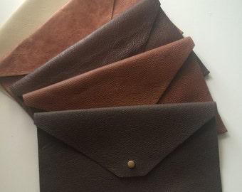 SALES! Dark brown matte Real Leather Envelope Evening Clutch Bag