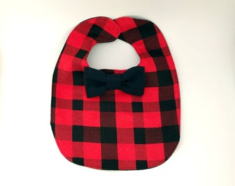 Buffalo Plaid Baby Bib - Red Buffalo Plaid Baby Bib - Bowtie Bib - Bow tie Baby Bib - Dribble Bib - First Birthday Gift - Baby Shower Gift