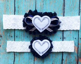 Navy and White Fish Hook Hearts Garter Set | Something Blue Fishing Wedding Garters | Bridal Garter and Toss Garter | Other Colors Available