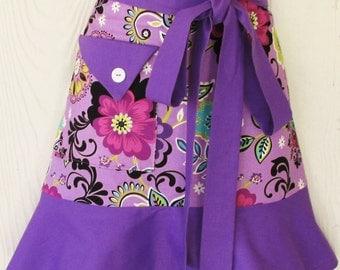 Women's Floral Half Apron, Retro Style, Waist Apron, Orchid Apron, Purple Apron, Flowers, KitschNStyle