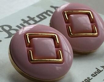 Vintage Buttons - pink gold plastic