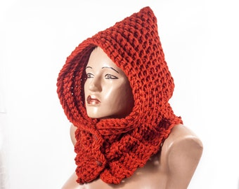 Ready to Ship - Chunky hooded scarf , Acrylic Scarf, Hooded Scarf by LoveKnittings