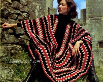 Vintage poncho crochet pattern in PDF instant download version