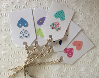 Double Fabric Heart Gift Tags