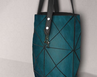 Deep turquoise tote, Womens leather Tote, turquoise Leather Bag, Leather Bag, Women Tote Bag, Distressed Leather Bag, Teal leather bag