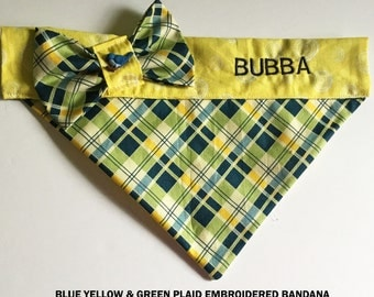 Blue, Yellow & Green Argyle Embroidered Bandana for Dogs or Cats