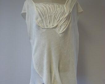 Sale, new price 65 Euro, original price 80 Euro. Asymmetric delicate off-white linen blouse, XXL size.  Perfect for Summer