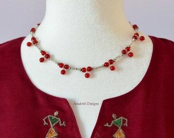 Red necklace set - Carnelian necklace - Boho necklace - Womens Gift - Dainty necklace - Minimalist necklace - Gemstone necklace - Handmade