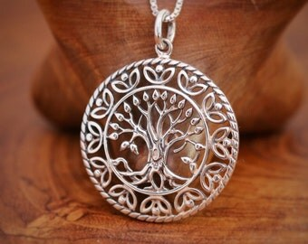 Sterling Silver Tree of Life Round Pendant Necklace, Tree of Life with Swirled Twigs, Birthday/Seasonal Gift For Mothers Comes with Gift Box