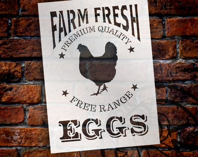 Featured listing image: Vintage Fresh Eggs Art Stencil - SELECT SIZE - STCL1107 - by StudioR12