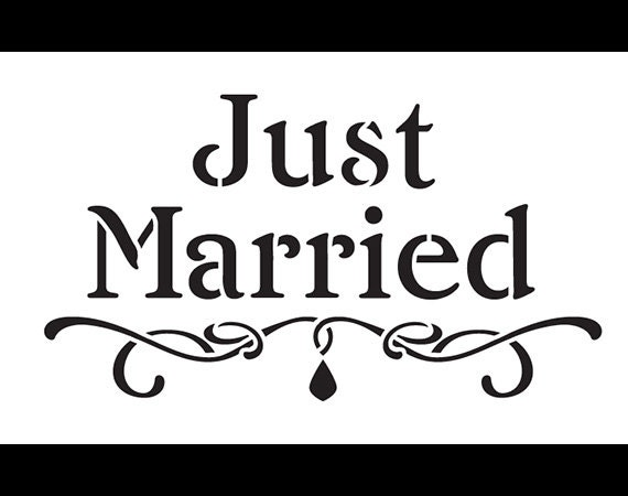 Just Married - Word Art Stencil - Select Size - STCL1173 by StudioR12