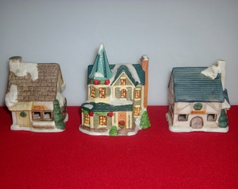 Vintage 3 miniature houses