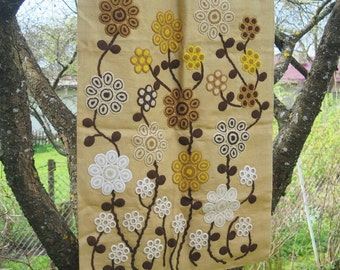 Vintage Burlap Embroidered Crochet Wall Decor, Vintage Floral Wall Hanging Handmade Scandinavian Wall Art #2-24