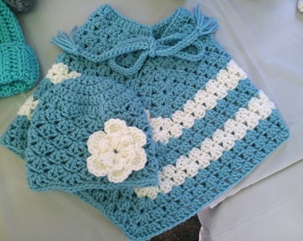 Crocheted Children's Poncho and Matching Hat