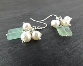 Flourite Earrings, Gemstone Earrings, Pearl Cluster Earrings, Mint Green Dangle Earrings, Ivory Freshwater Pearl Earrings, Dainty Earrings