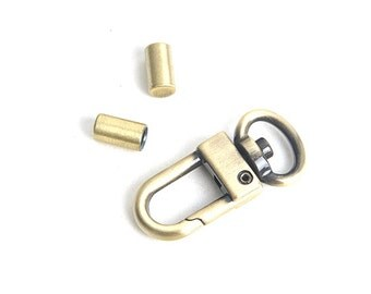 "3pcs Set 10mm(0.38"") Swivel Clips with Tap(2ea) (Basic Spring Snaps), antique brass finish, Leather craft tools MLT-954"