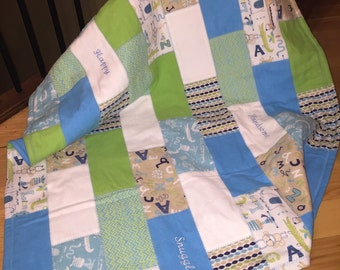 Embroidered Baby Boy Blanket/Elephant & Monkeys/Lime green/Blue/White/Ready to Ship/Playmat