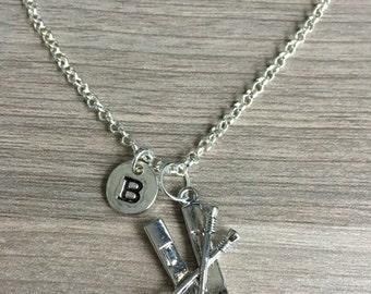 KIDS SIZE - Skis initial necklace, skiing jewelry, winter sport jewelry, gift for skier, ski jewelry, snow ski jewelry, ski pendant