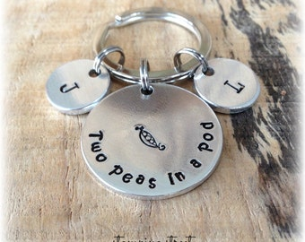 Two Peas In A Pod / Personalized Keychain / Initials / Best Friends Present / Gifts for Sisters / Personalised Keyring / Gifts for twins