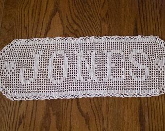 Crochet Name Doily - Filet Crocheted Name - Personalized Doily - Name Crochet Gift - Crocheted Name - Wedding Mementos - Filet Crochet Names